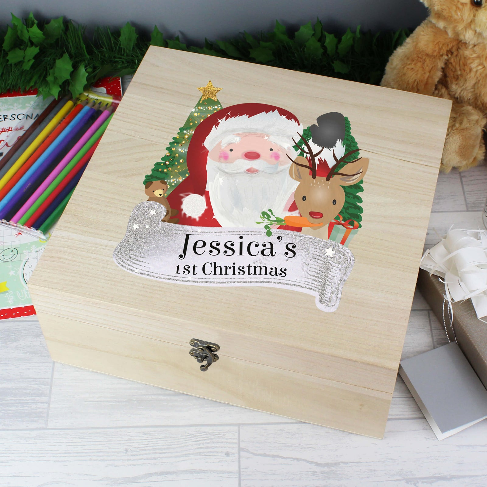 Personalised Santa Large Wooden Christmas Eve Box