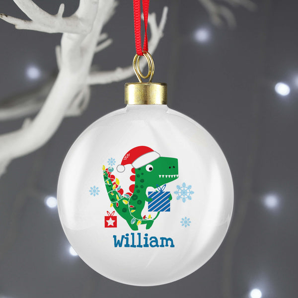 Personalised Dinosaur 'Have a Roarsome Christmas' Tree Bauble