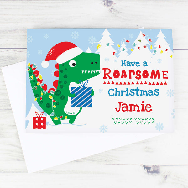 Personalised Dinosaur 'Have a Roarsome Christmas' Card