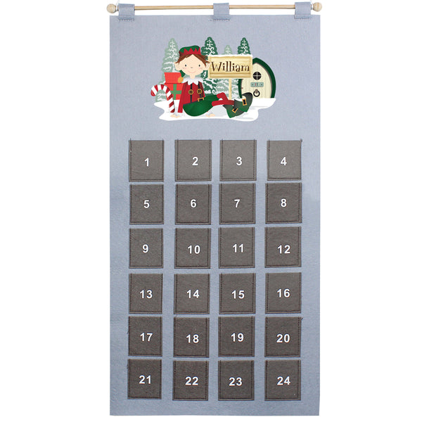 Personalised Elf Felt Pocket Christmas Advent Calendar