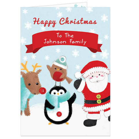 Personalised Felt Stitch Friends for Family Christmas Card