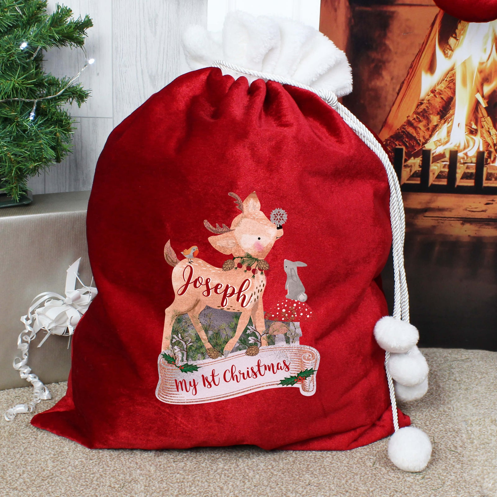 Personalised Festive Fawn Luxury Pom Pom Red Large Christmas Sack