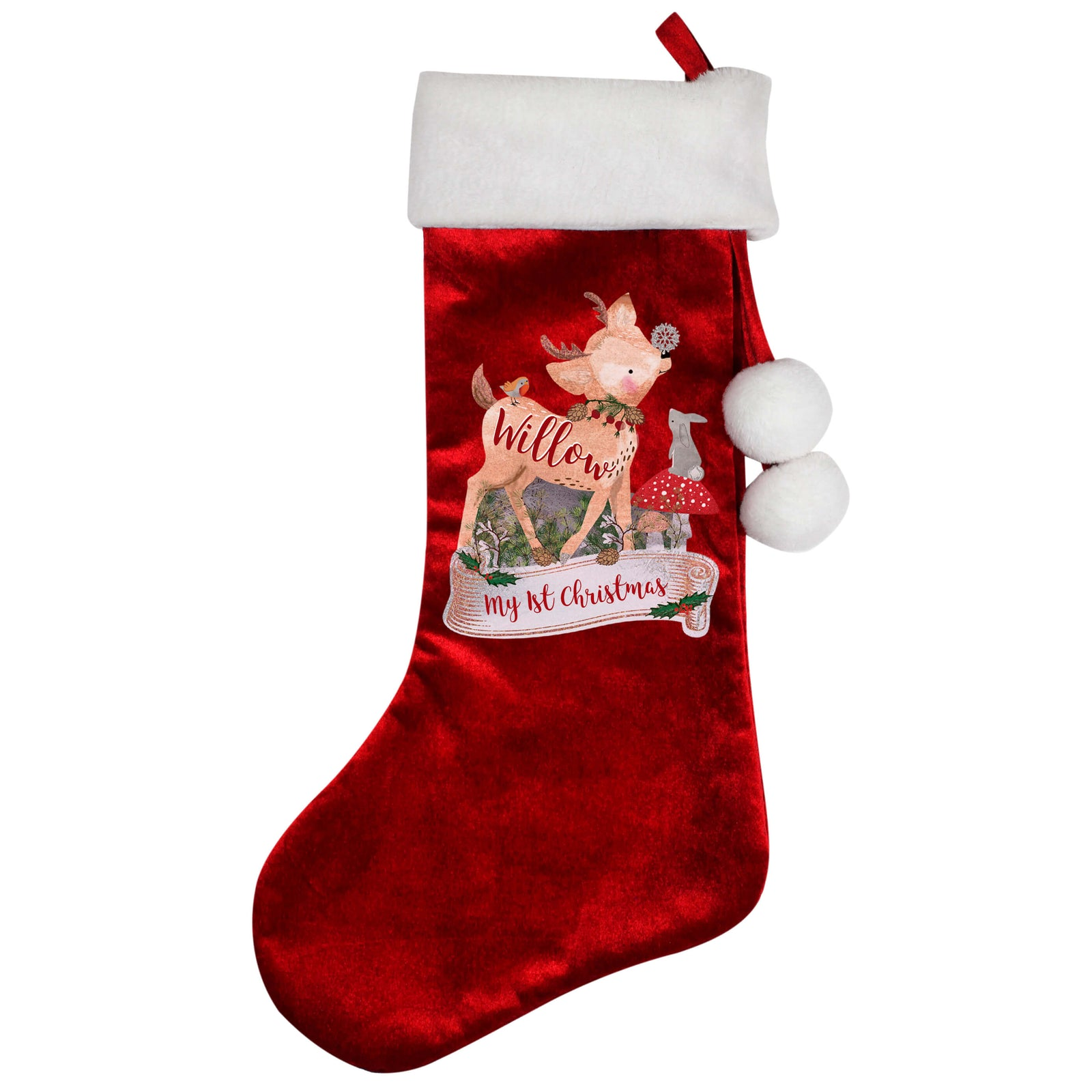 Personalised Festive Fawn Luxury Red Christmas Stocking