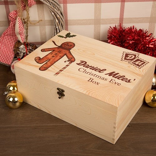 Personalised Gingerbread Man Design Christmas Eve Box XLarge