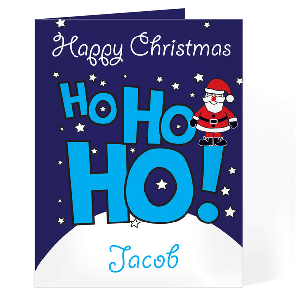 Personalised Ho Ho Ho Santa Christmas Card