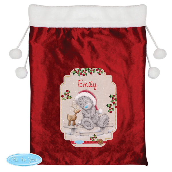 Personalised Me to You Reindeer Luxury Pom Pom Red Large Christmas Sack