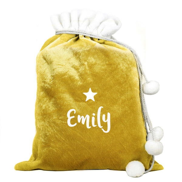 Personalised Name Only Gold Luxury Pom Pom Large Christmas Sack