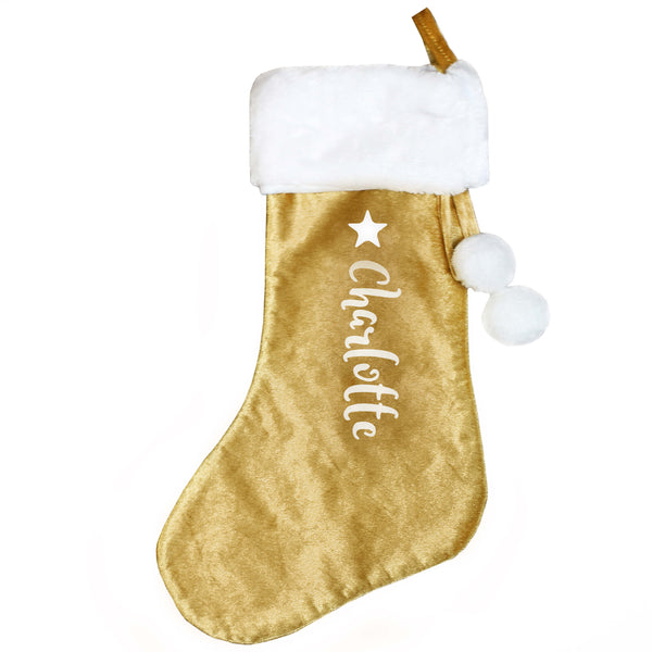 Personalised Name Only Luxury Gold Christmas Stocking