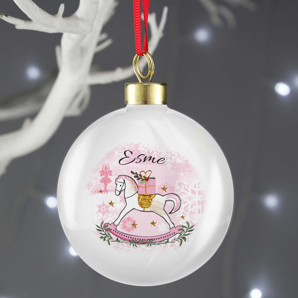 Personalised Pink Rocking Horse Christmas Tree Bauble