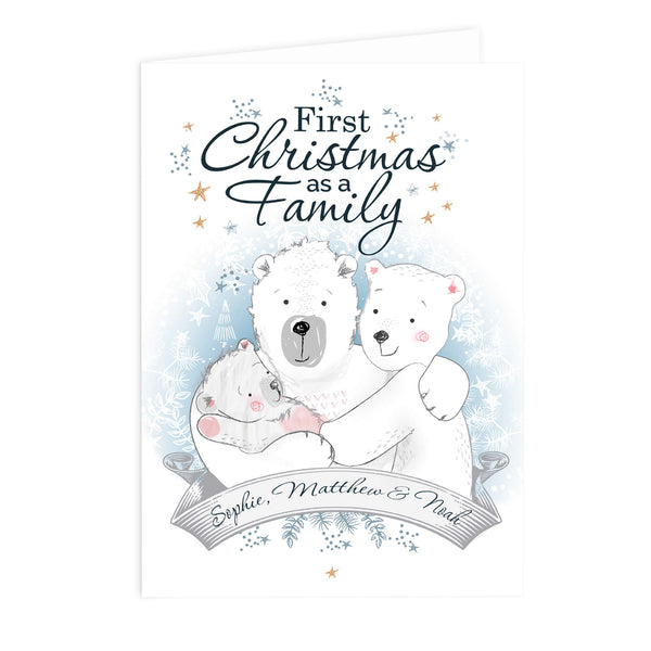 Personalised Polar Bear '1st Christmas As A Family' Xmas Card