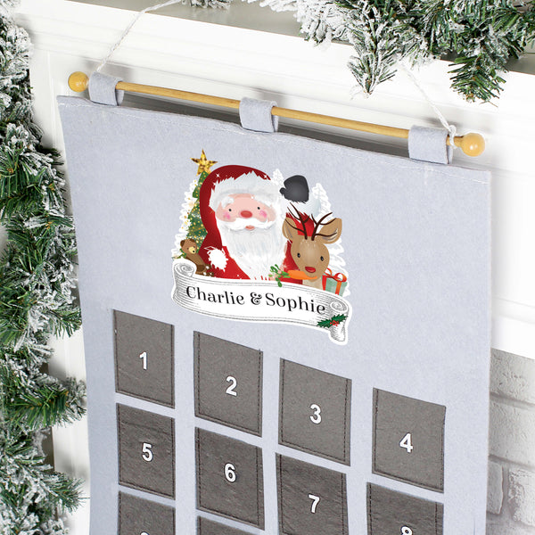 Personalised Santa Felt Pocket Christmas Advent Calendar