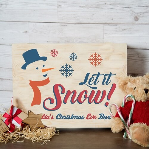 Personalised Snowman Design Christmas Xmas Eve Box XLarge