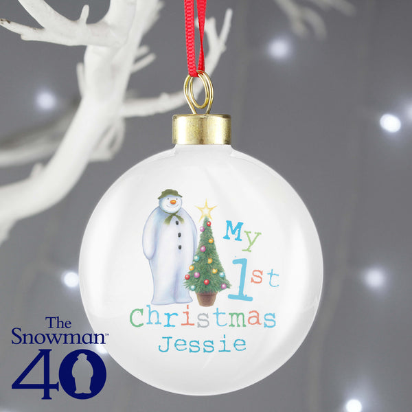 Personalised The Snowman My 1st Christmas Tree Bauble