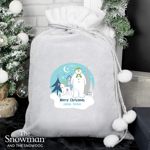 Personalised The Snowman and the Snowdog Luxury Silver Grey Pom Pom Large Christmas Sack