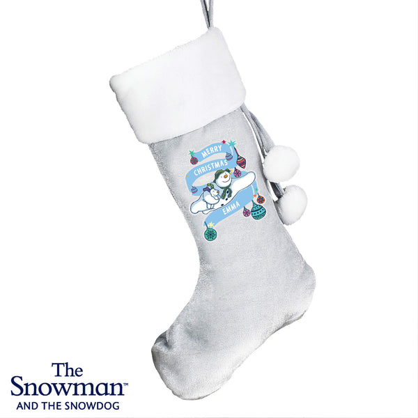 Personalised The Snowman and the Snowdog Luxury Silver Grey Ghristmas Stocking
