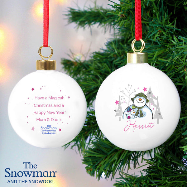 Personalised The Snowman and the Snowdog Christmas Tree Bauble