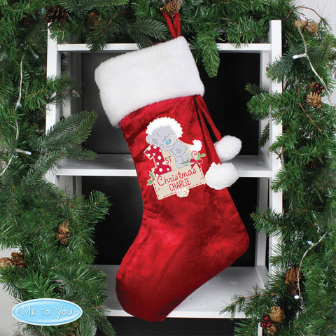 Personalised Luxury Red Tiny Tatty Teddy 'My 1st Christmas' Stocking