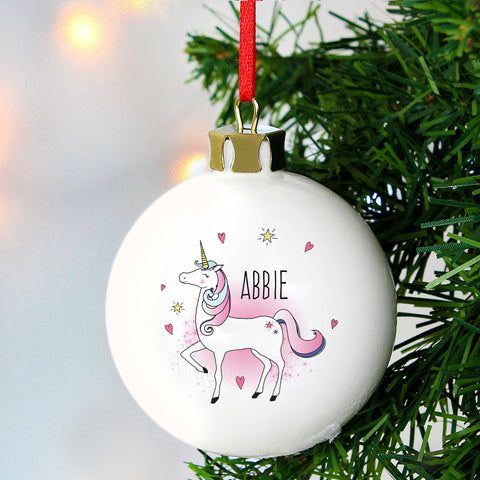 Personalised Unicorn Christmas Tree Bauble