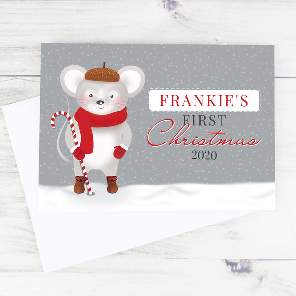 Personalised Mouse Design Baby's 1st Christmas Card