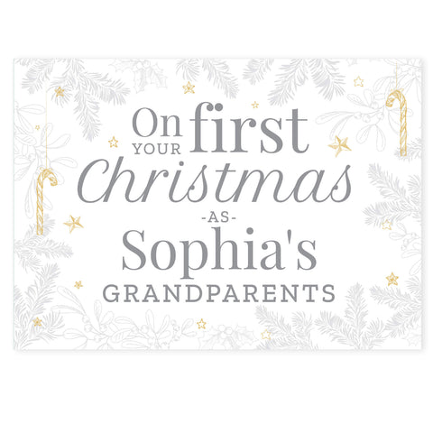 Personalised 'On Your First Christmas As' Card for new baby's parents and grandparents