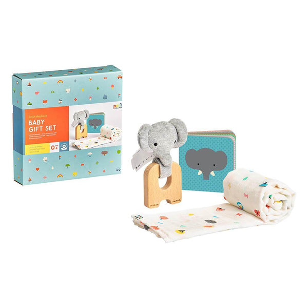 Little Elephant Organic Burp Cloth Teether Baby Gift Box Set
