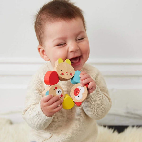 Wooden Grasping Baby Rattle and Teething Toy for 6 months old