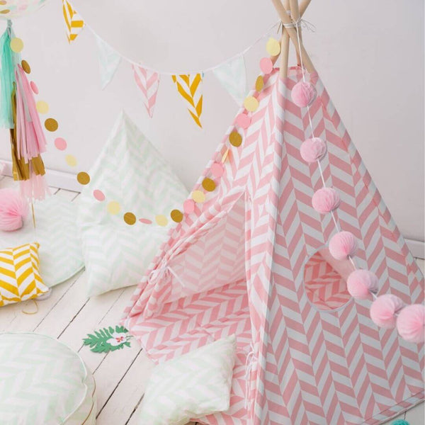 Pink Herringbone Teepee Sets OEKO-TEX®100 Certified