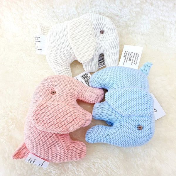 Organic Cotton Knitted White Elephant Baby Soft Toy Rattle