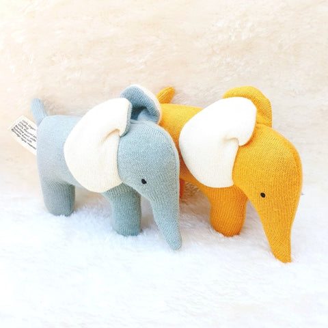 Organic Cotton Mustard Elephant Soft Toys Small