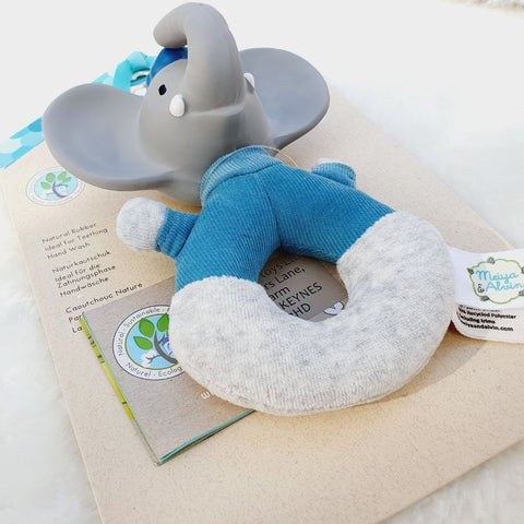 Alvin the Elephant Soft Rattle with Natural Rubber Head Teether