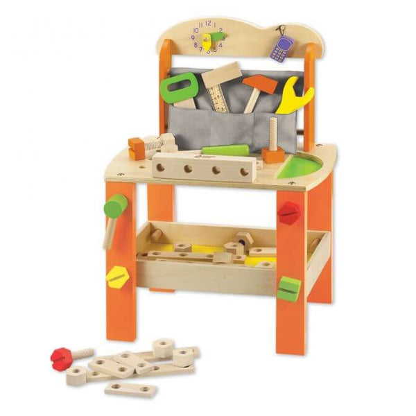 Orange Wooden Tool Bench – Toddler workbench for 3 years old