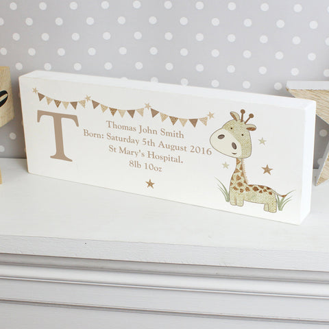 Gifts - Personalised Hessian Giraffe Wooden Block Sign
