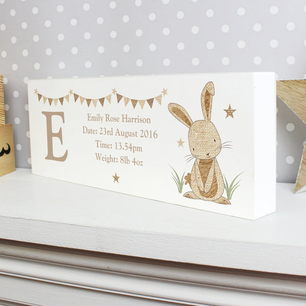 Gifts - Personalised Hessian Rabbit Wooden Block Sign