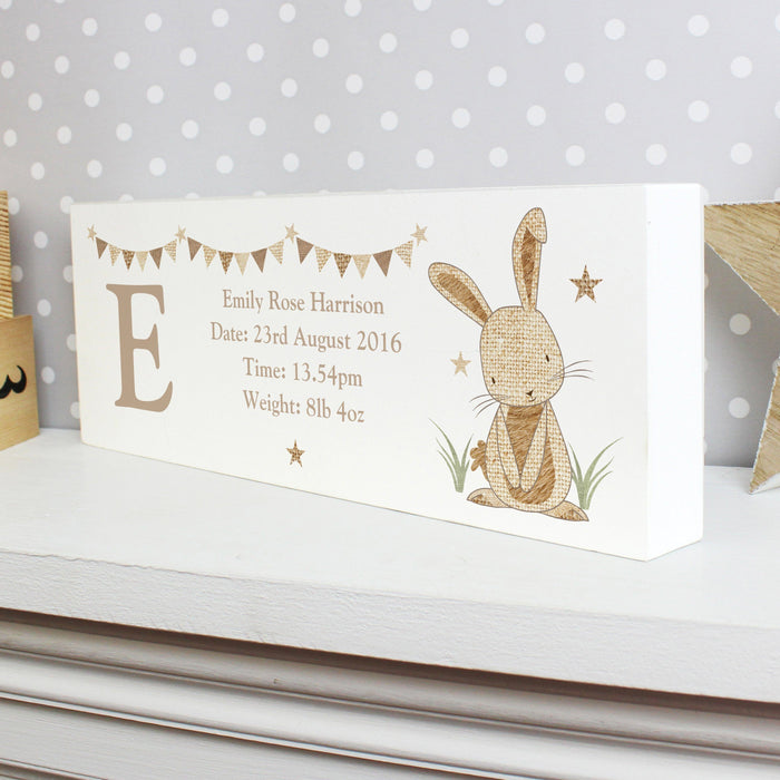 Personalised Hessian Rabbit Wooden Block Sign