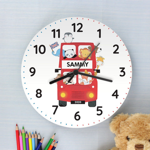 Gifts - Personalised London Animal Bus Wooden Clock