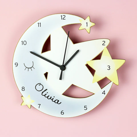 Gifts - Personalised Moon And Stars Shape Wooden Clock