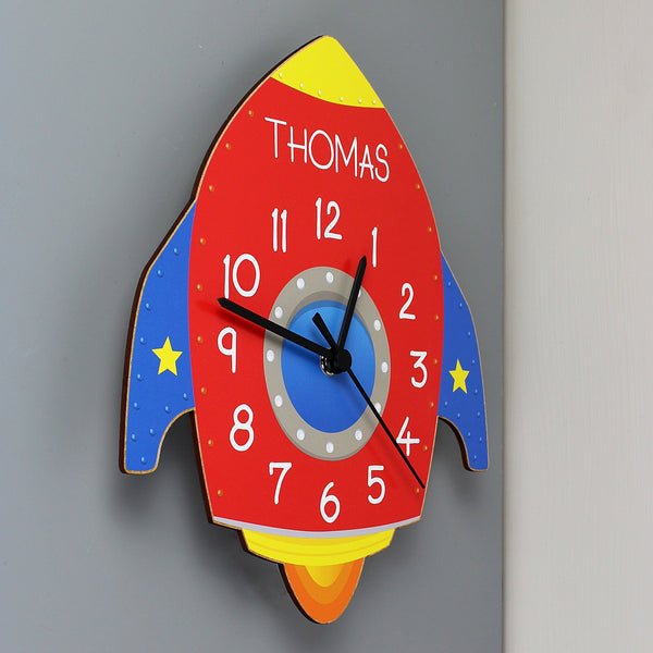 Gifts - Personalised Rocket Shape Wooden Clock