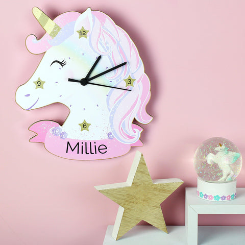 Gifts - Personalised Unicorn Shape Wooden Clock