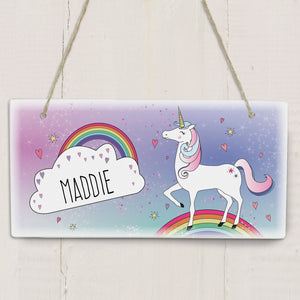 Gifts - Personalised Unicorn Wooden Hanging Sign