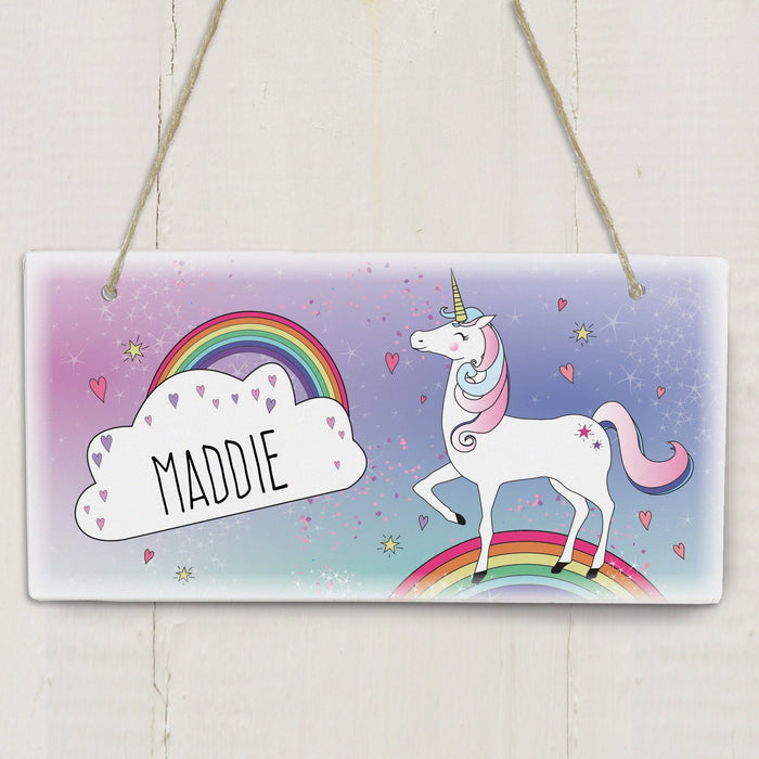 Personalised Unicorn Wooden Hanging Sign