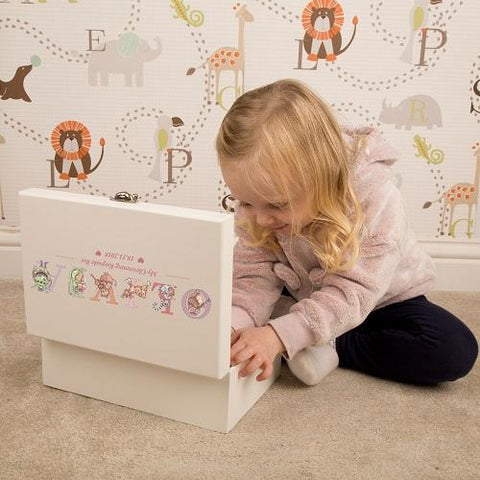 Personalised Alphabet Animals Luxury Keepsake Box - Pink Or Blue