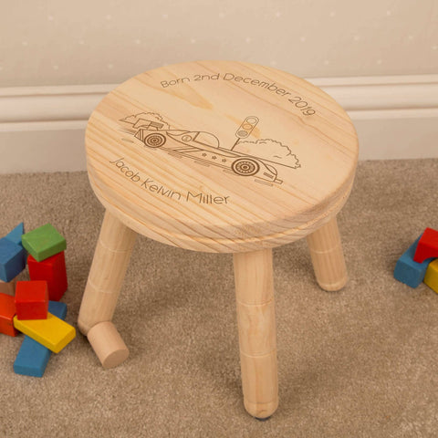 Personalised Childs Wooden Stool - Various Designs Available - Laser Engraved