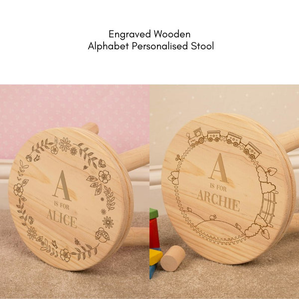 Personalised Engraved Alphabet Wooden Stool - Train Or Floral