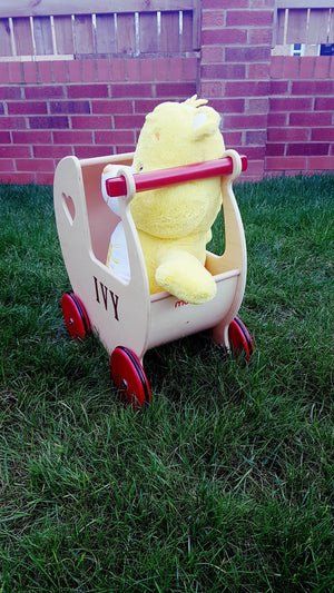 Push Along - Moover Dolls Pram - Birch Veneer