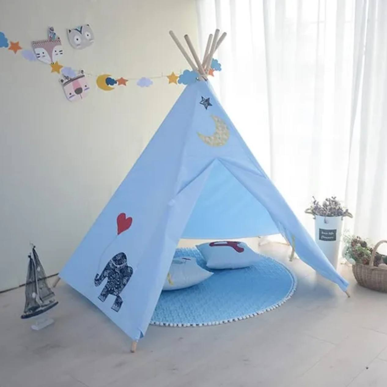 Teepee (with FREE Fairy Lights, Mat, And Bunting)