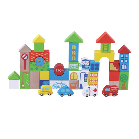 Wooden Building Blocks For Toddlers - 40pc Traffic Wooden Toys For Toddlers
