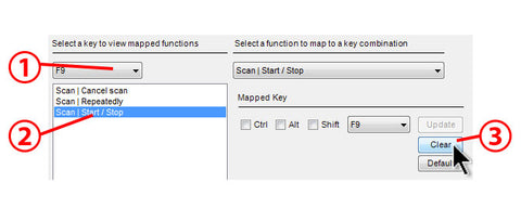 "To delete a saved shortcut key, select the key, then select the function and click ""Clear"""