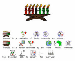 Kwanzaa article with symbol supports