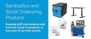 Sanitization and Social Distancing Products: Keeping staff and students safe from the Covid 19 pandemic is now part of our new normal.