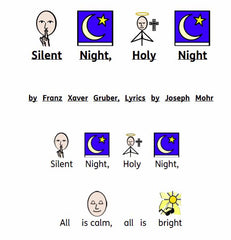 Silent Night song, symbolized with Widgit Symbols